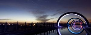The Falkirk Wheel lit up at night