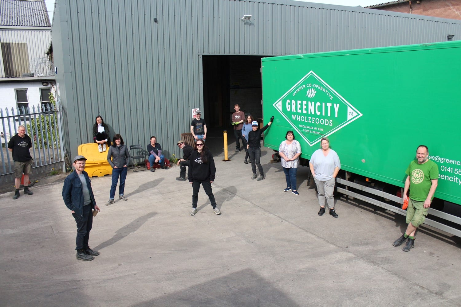 Image of Greencity Wholefoods warehouse, lorry and staff