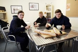 Boys in the Youth Enterprise Scotland Kitchen with soup and bread